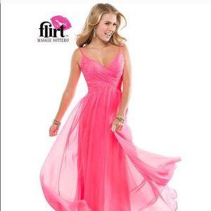 Pink chiffon A-line Maggie Soterro prom dress NWT